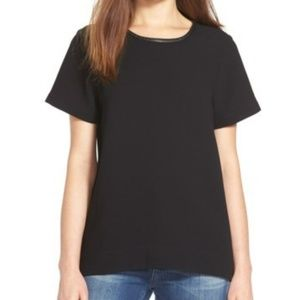 Madewell Black Leather Trim Tailored Tee NWOT